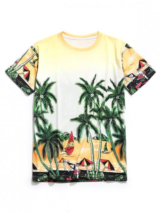 Coconut Tree Print Casual T-shirt - قضبان ذهبية L
