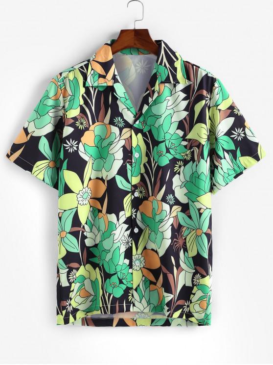Camisa Casual de Estampado de Hojas y Florales - Verde Alga XL