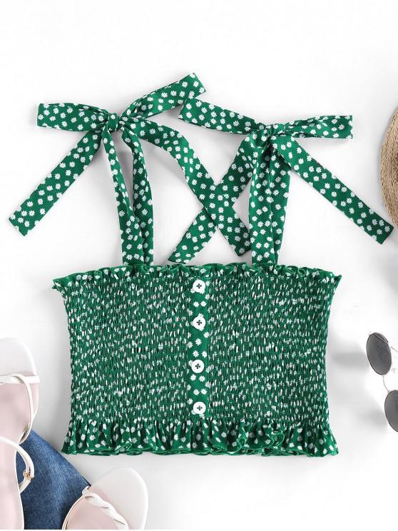 fancy ZAFUL Ditsy Print Smocked Tie Shoulder Mock Button Tank Top - MEDIUM FOREST GREEN M