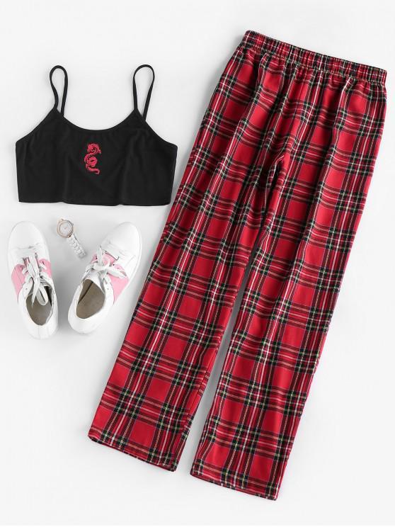 chic ZAFUL Tartan Plaid Oriental Dragon Two Piece Pants Set - RED WINE L