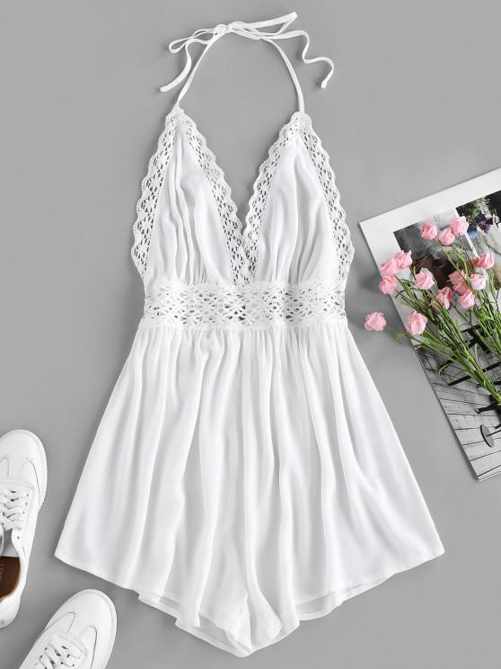hot ZAFUL Halter Crochet Hollow Out Backless Romper - WHITE L