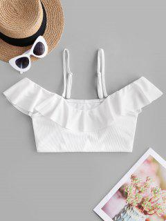 ZAFUL Ribbed Ruffle Cold Shoulder Bikini Top - White S