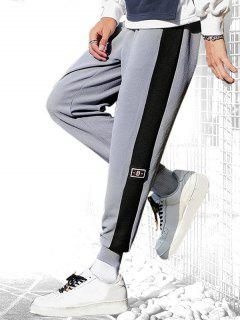 Pantalon De Jogging à Ourlet En Blocs De Couleurs à Cordon - Gris Clair Xl
