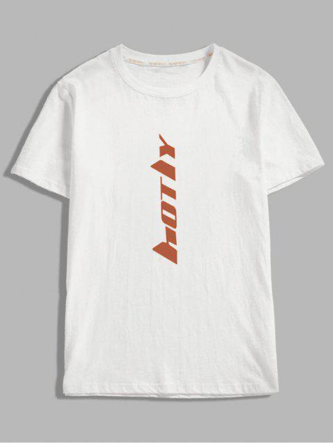 短袖字母印花T卹 - 白色 L Mobile