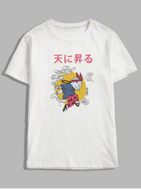 chic Cartoon Cat Oriental Letter Graphic T-shirt - WHITE 2XL Mobile