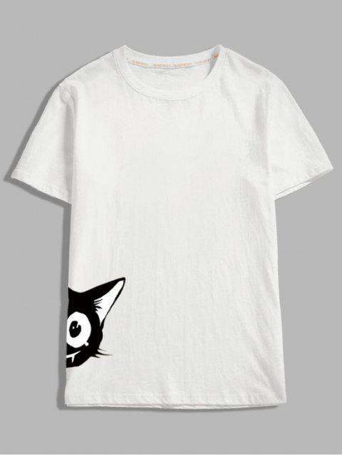 短袖卡通動物印花T卹 - 白色 S Mobile