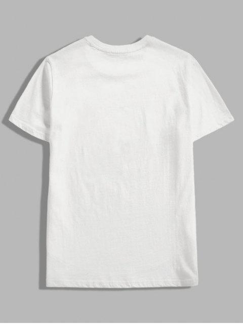 ladies Contrast Oriental Letter Print Casual T-shirt - WHITE 2XL Mobile