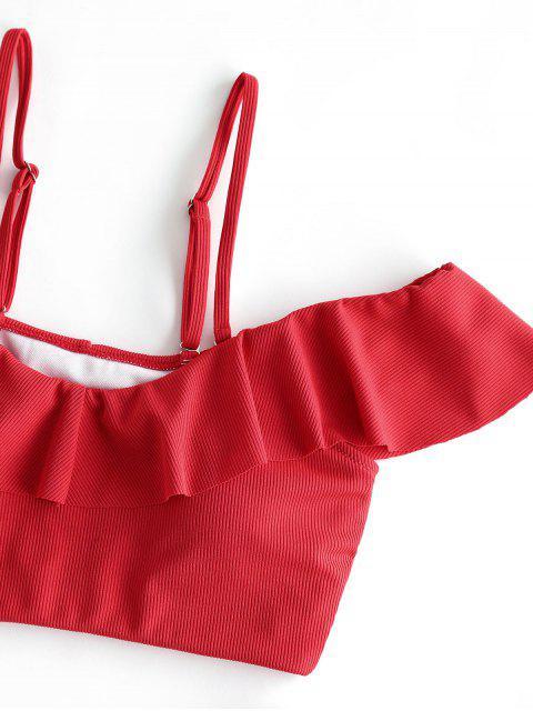 ZAFUL Gerippte Rüsche Badebekleidung mit Hohem Bein und Zwei Teilen - Rot XL Mobile