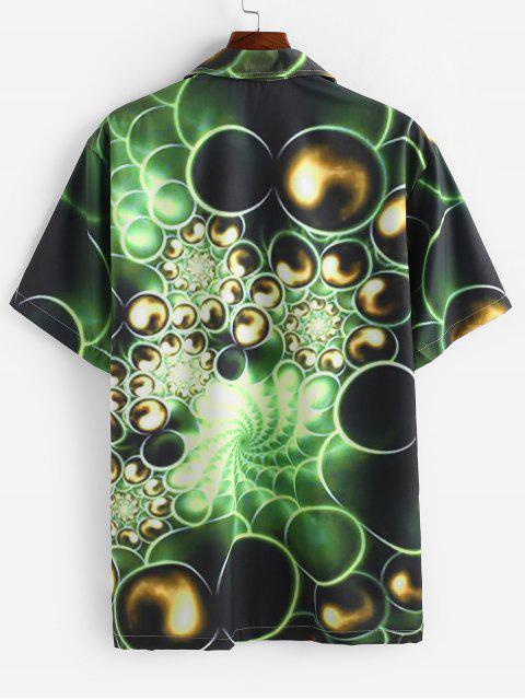 Camisa Casual de Manga Corta con Estampado de Pintura - Verde Alga S Mobile