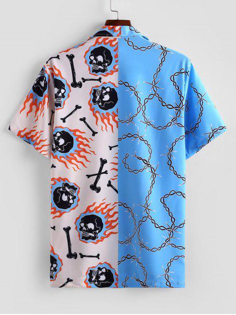 Schädel Gespleißter Gedrucktes Knopf Hemd - Himmelblau M Mobile