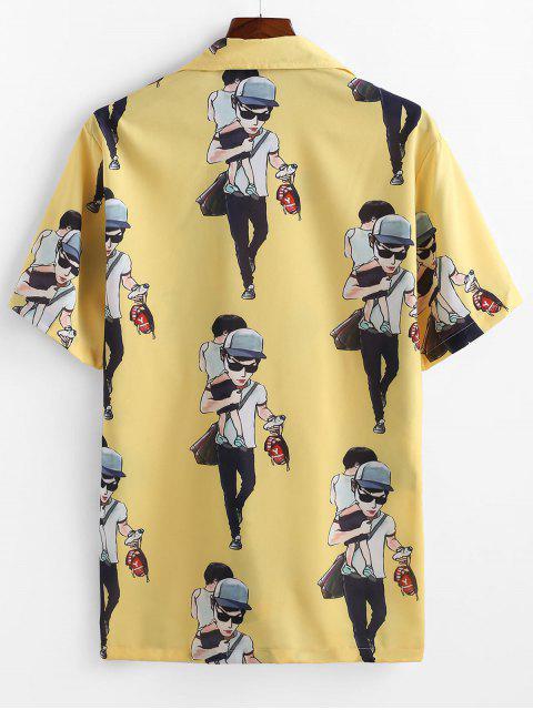 shop Cartoon Character Printed Short Sleeves Shirt - YELLOW S Mobile