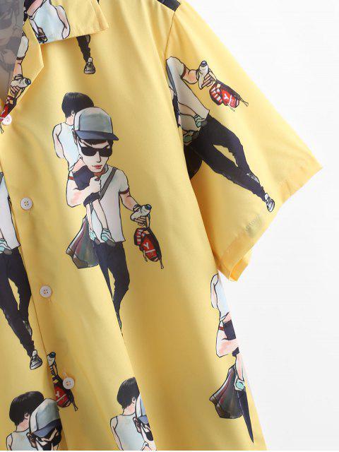 shops Cartoon Character Printed Short Sleeves Shirt - YELLOW M Mobile