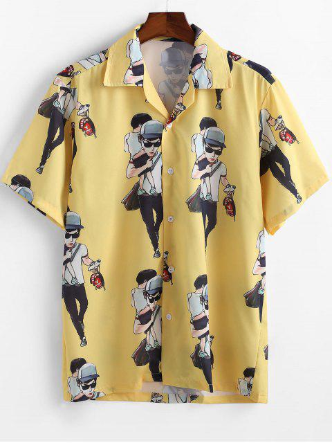 latest Cartoon Character Printed Short Sleeves Shirt - YELLOW L Mobile