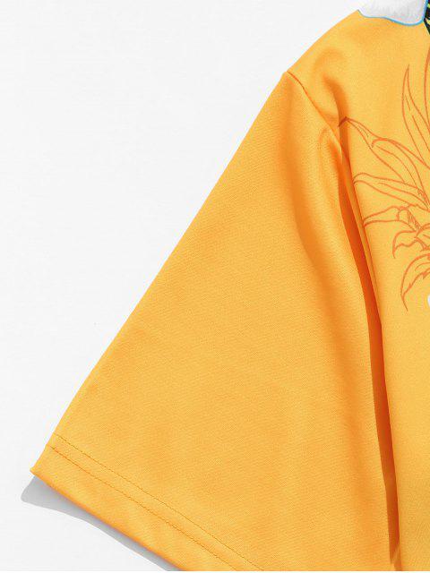 Camiseta Casual con Estampado Floral de Manga Corta - Amarilla de Abeja  2XL Mobile