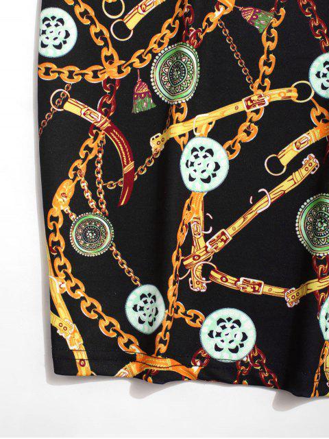 affordable Chain Coin Print Button Tee - BLACK 2XL Mobile