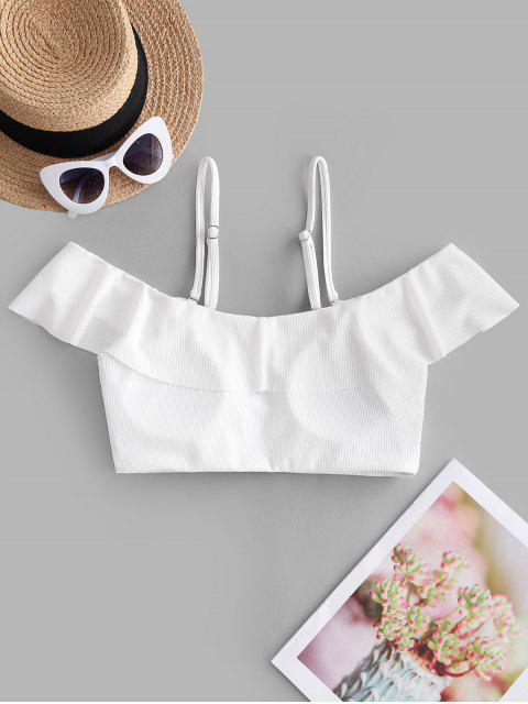 best ZAFUL Ribbed Ruffle Cold Shoulder Bikini Top - WHITE S Mobile