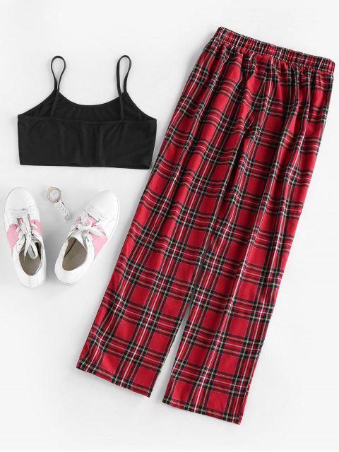 fashion ZAFUL Tartan Plaid Oriental Dragon Two Piece Pants Set - RED WINE M Mobile