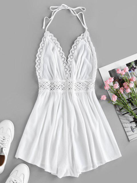 chic ZAFUL Halter Crochet Hollow Out Backless Romper - WHITE S Mobile