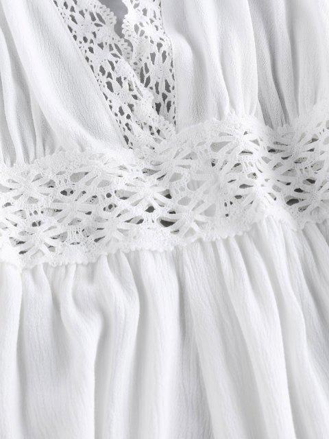 online ZAFUL Halter Crochet Hollow Out Backless Romper - WHITE M Mobile