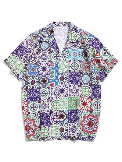 Camisa De Manga Corta Con Estampado Tribual - Multicolor-a S