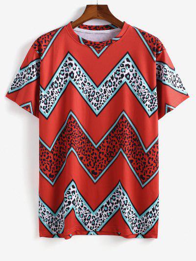 Camisa De Manga Corta Con Estampado De Leopardo - Rojo M