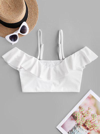 ZAFUL Ribbed Ruffle Cold Shoulder Bikini Top - White S