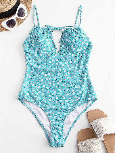 ZAFUL Tie Ditsy Print One-piece Swimsuit - Turquoise Xl