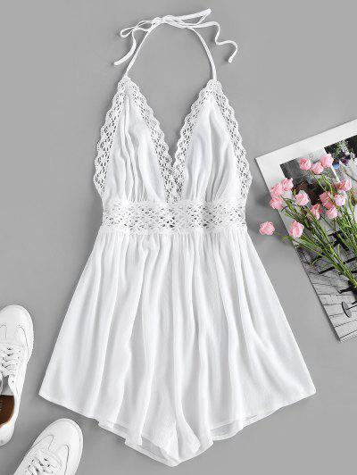 ZAFUL Halter Crochet Hollow Out Backless Romper - White S