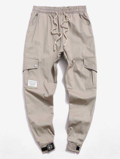 Letter Pattern Casual Pocket Jogger Pants - Light Khaki L