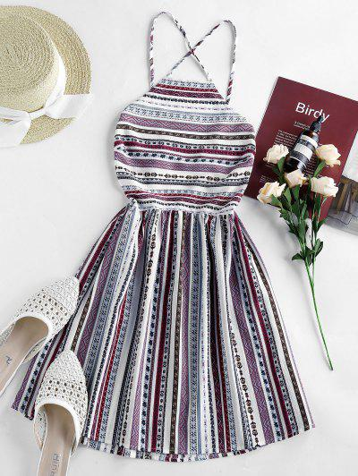 ZAFUL Bohemian Printed Lace-up Backless Sundress - White L