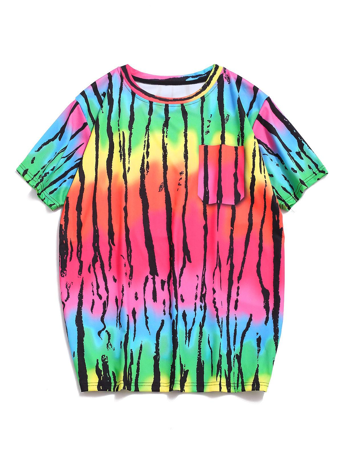 Colorful Striped Print Casual T-shirt thumbnail