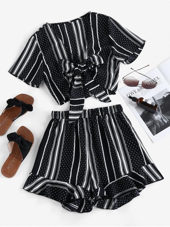 women Polka Dot Striped Ruffles Two Piece Set - BLACK M