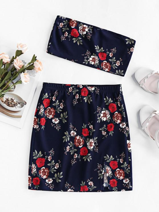 ZAFUL Floral Tube Top and Mini Skirt Two Piece Set - داكن سليت أزرق S