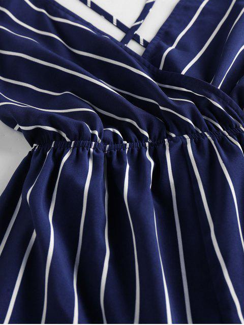 trendy ZAFUL Striped Criss Cross Backless Loose Romper - DEEP BLUE S Mobile