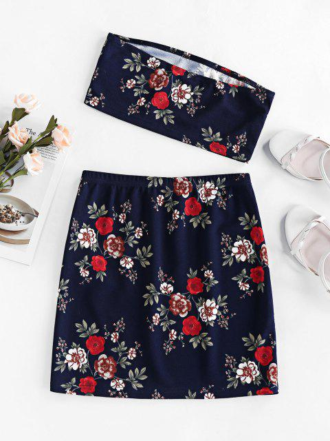 latest ZAFUL Floral Tube Top and Mini Skirt Two Piece Set - DARK SLATE BLUE XL Mobile