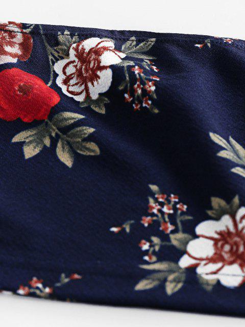 Conjunto de Dos Piezas con Top Tubo Floral ZAFUL - Azul de Pizarra Oscuro L Mobile