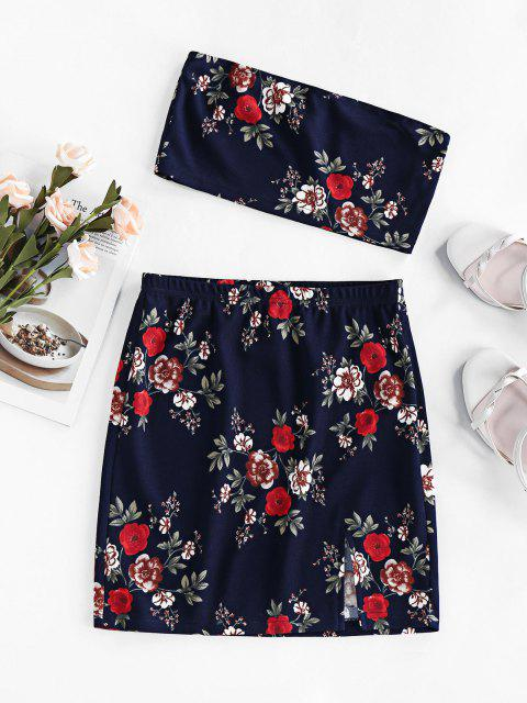 shops ZAFUL Floral Tube Top and Mini Skirt Two Piece Set - DARK SLATE BLUE S Mobile