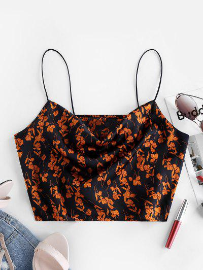 ZAFUL Floral Bungee Straps Cowl Neck Cami Top - Black S