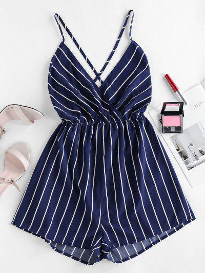 ZAFUL Striped Criss Cross Backless Loose Romper - Deep Blue S