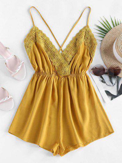 ZAFUL Crochet Panel Criss Cross Cami Romper - Goldenrod S