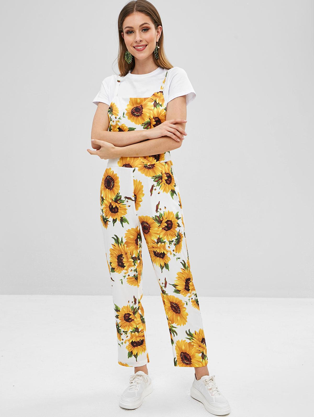 ZAFUL Sunflower Print Overalls