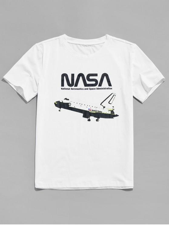 ZAFUL avion American Flag Imprimare maneca scurta T-shirt - alb 2XL