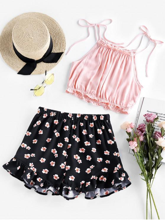lady ZAFUL Tied Crop Top and Floral Shorts Two Piece Set - BLACK S