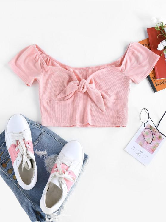 shops ZAFUL Ribbed Sweetheart Tied Crop T-shirt - PINK L
