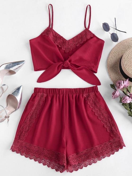 ZAFUL Ensemble de Short Noué au Crochet à Jambe Large - Rouge Vineux S