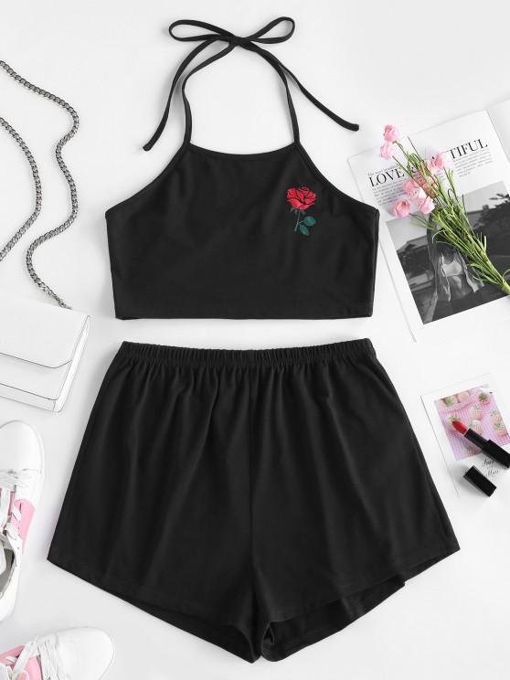 ZAFUL Rose Flower Halter Tie Two Piece Set - أسود L