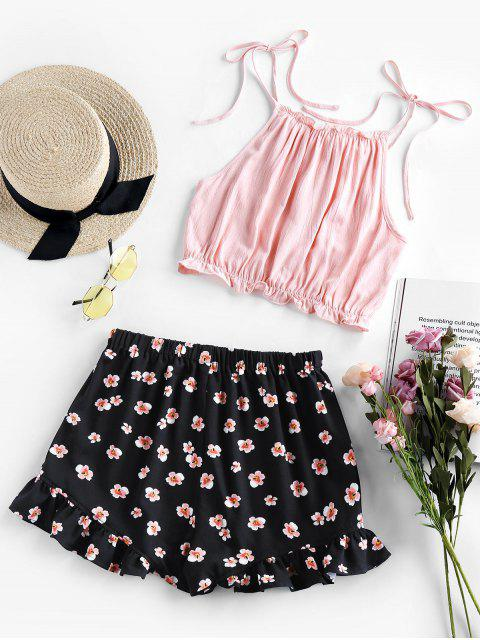 lady ZAFUL Tied Crop Top and Floral Shorts Two Piece Set - BLACK S Mobile