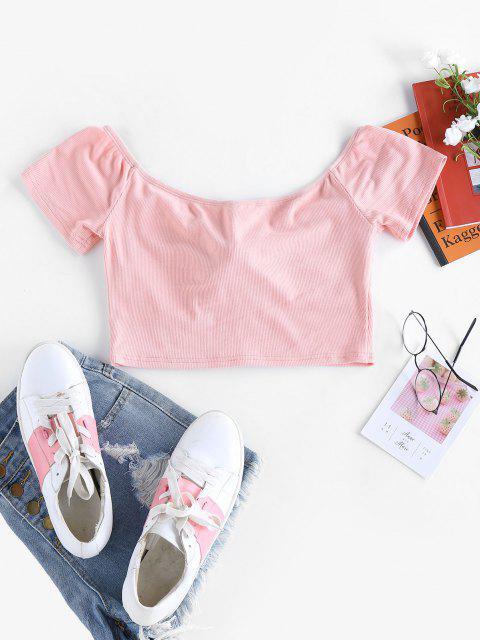 ZAFUL T-shirt com Nervuras Cortado - Rosa XL Mobile