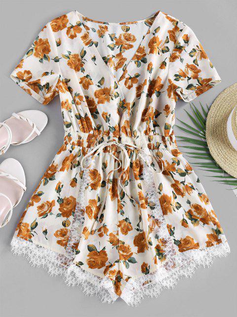 fashion ZAFUL Flower Lace Insert Surplice Romper - ANTIQUE WHITE M Mobile