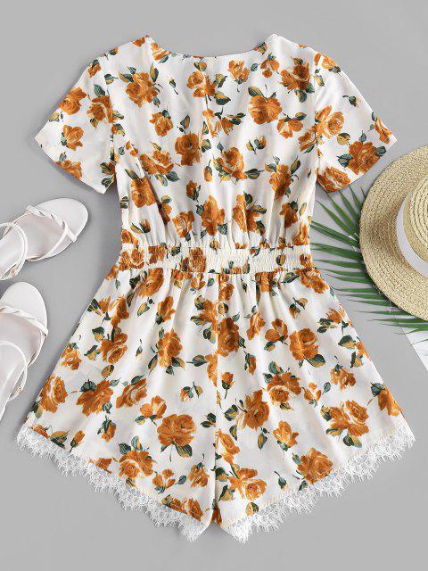 buy ZAFUL Flower Lace Insert Surplice Romper - ANTIQUE WHITE S Mobile